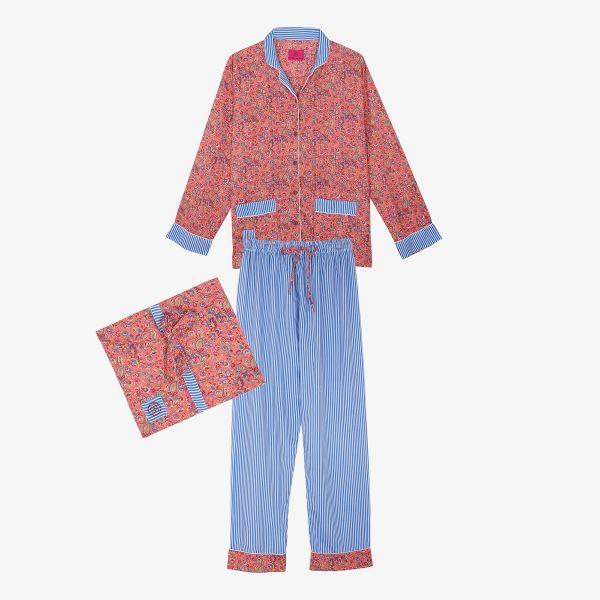 Pyjama indien rose/bleu