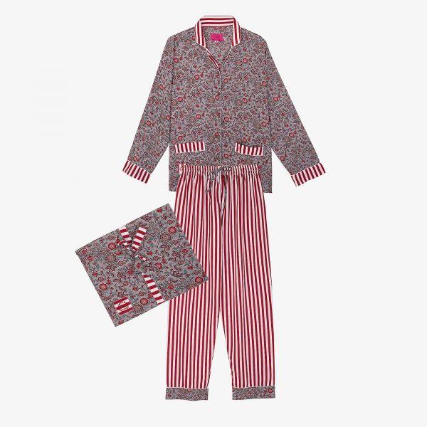 Pyjama indien rouge et gris...