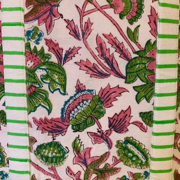 Cabas XXL INDY vert et rose