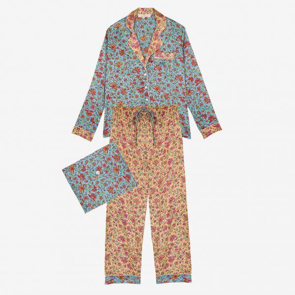 Pyjama indien (satin bleu...