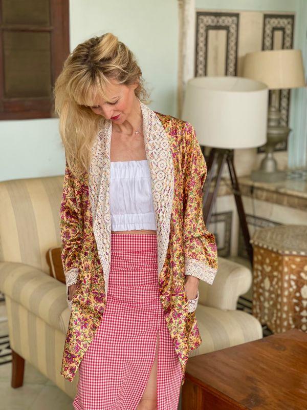 Kimono indien court (satin...