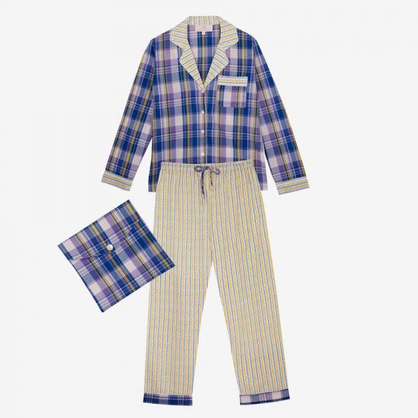Pyjama indien (madras bleu)